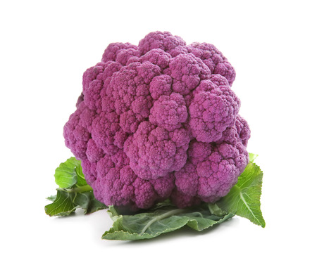 Purple cauliflower on white background Фото со стока