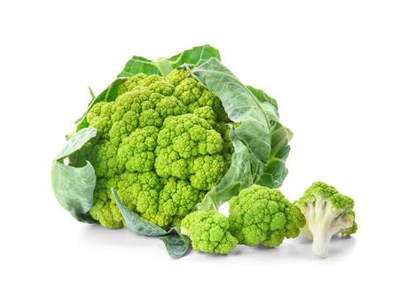 Green cauliflower on white background 免版税图像