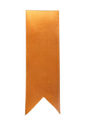 Golden ribbon bookmark isolated on white background