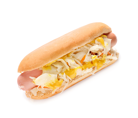 Tasty hot dog with sauerkraut on white background Фото со стока