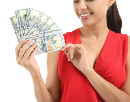 Happy young woman with dollar banknotes on white background Stock fotó