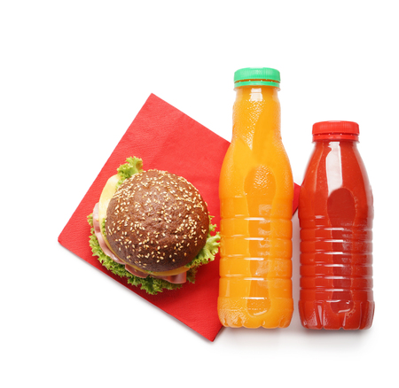 Food for schoolchild on white background