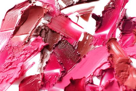 Lipstick strokes of different shades on white background Archivio Fotografico