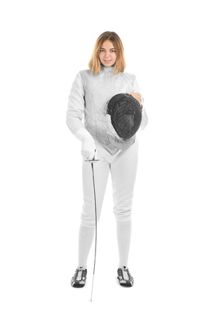 Young female fencer on white background
