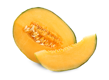Cut ripe sweet melon on white background Stock fotó