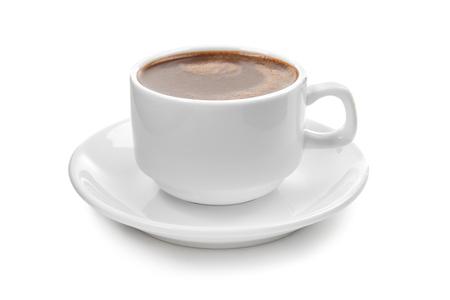 Tasse heiße Schokolade auf weißem Hintergrund Standard-Bild