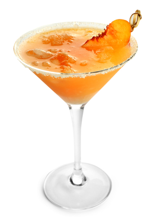 Fresh summer cocktail in glass on white background