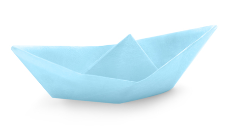 Origami boat on white background Stockfoto