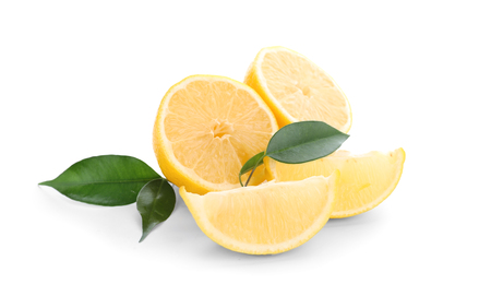 Sliced ripe lemons on white background