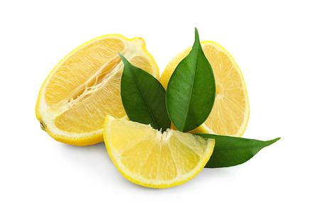 Sliced ripe lemon on white background