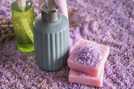 Set of bath products on sea salt 写真素材