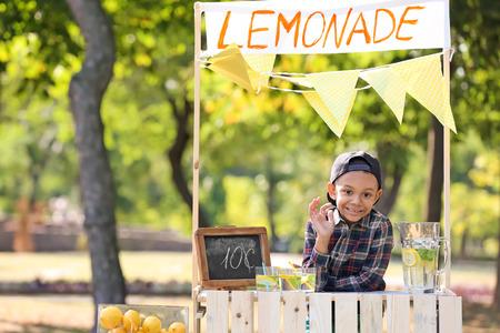 Little African-American boy at lemonade stand in park 免版税图像