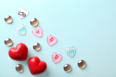 Variety of hearts for Valentines Day celebration on light background 스톡 콘텐츠