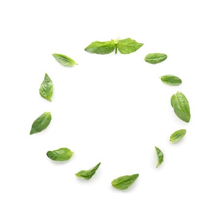 Frame made of fresh green basil on white background Imagens