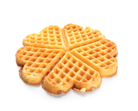 Delicious waffles on white background Stock Photo