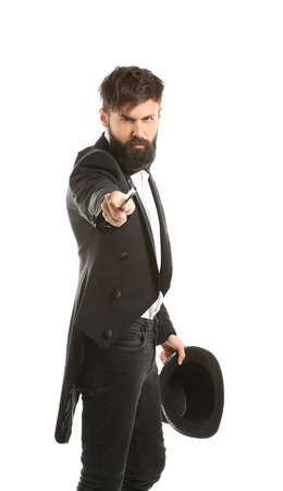 Magician showing tricks on white background