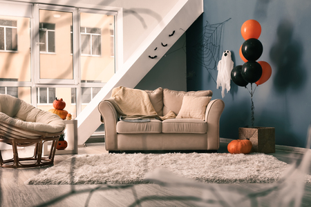 Interior of room decorated for Halloween