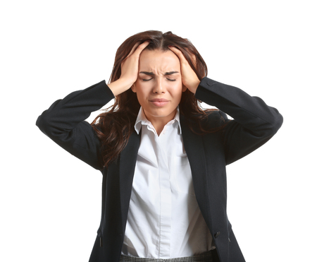 Beautiful stressed businesswoman on white background