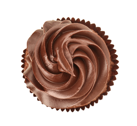 Tasty chocolate cupcake on white background, top view