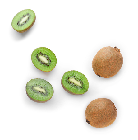 Ripe kiwi on white background