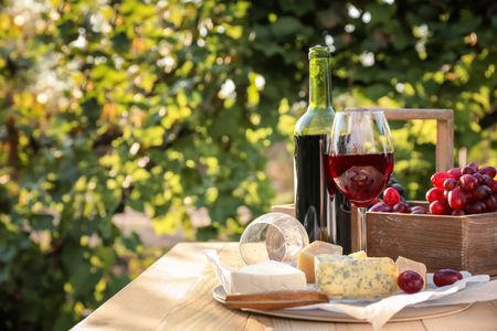 Glass and bottle of red wine with cheese on table in vineyard