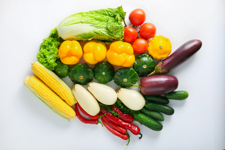 Flat lay composition with various vegetables on white background Standard-Bild