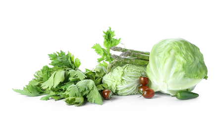 Various fresh vegetables on white background