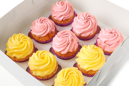 Delicious cupcakes in cardboard box Stockfoto