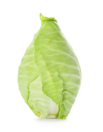 Fresh pointed cabbage on white background