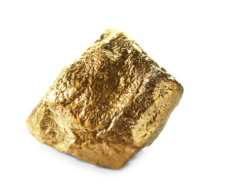 Gold nugget on white background Archivio Fotografico