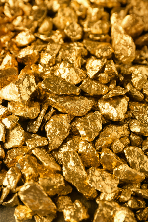 Many gold nuggets as background Stock Photo