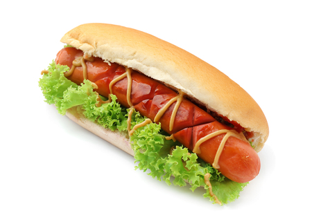 Tasty hot dog with lettuce and sauces on white background
