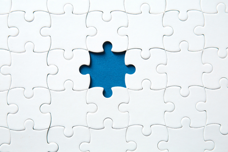 Jigsaw puzzle with missing fragment Standard-Bild - 116650417