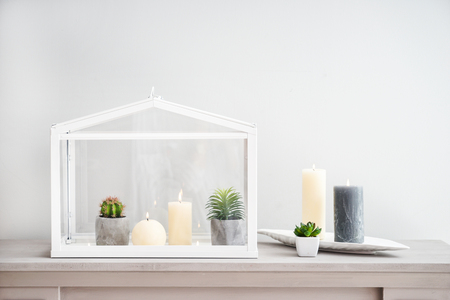 Beautiful burning candles with plants on light table