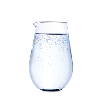 Jug with cold fresh water on white background 스톡 콘텐츠