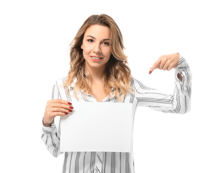 Portrait of beautiful young woman with blank paper sheet on white background Stok Fotoğraf