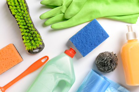 Cleaning supplies on white background Imagens - 115298530