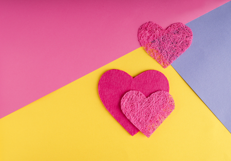 Different hearts on color background Stock Photo