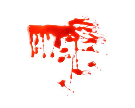 Blood splashes on white background Stock Photo