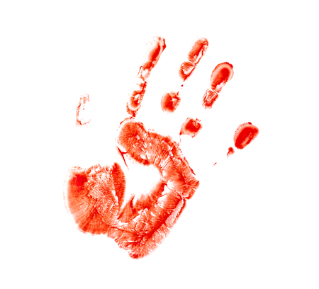 Bloody palm print on white background