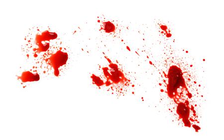Salpicaduras de sangre sobre fondo blanco. Foto de archivo