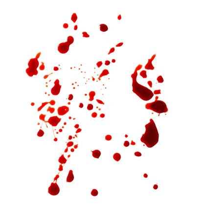 Blood splashes on white background