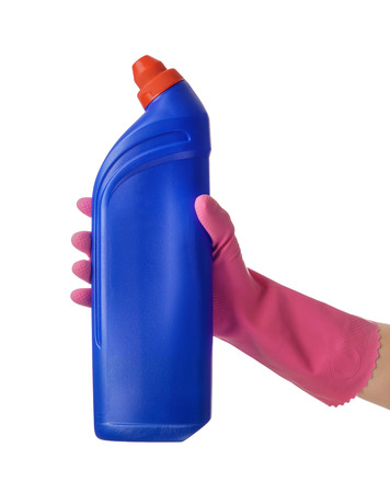 Woman holding bottle of detergent on white background Stock Photo