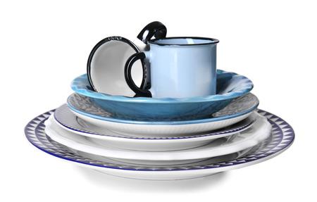 Set of clean tableware on white background Reklamní fotografie