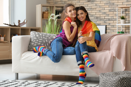 Happy young lesbian couple with rainbow flag at home
