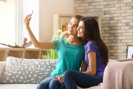 Young lesbian couple taking selfie at home Stock Photo