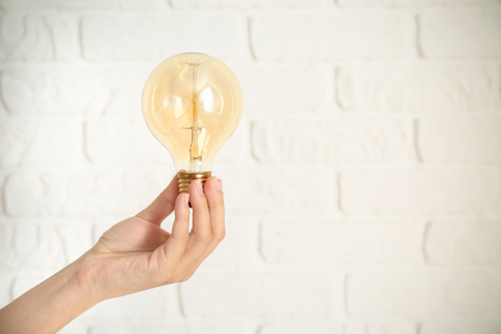 Female's hand with eco light bulb on brick background