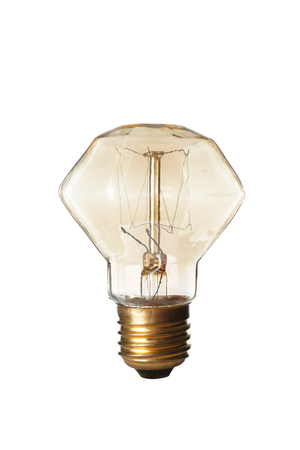 Retro light bulb on white background 스톡 콘텐츠