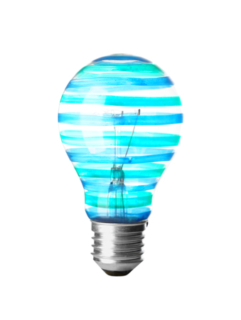 Painted light bulb on white background