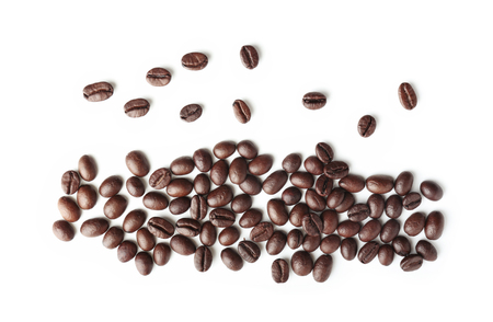 Roasted coffee beans on white background 免版税图像